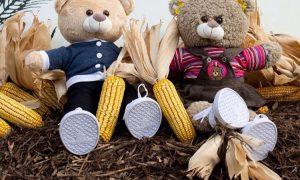 dois ursinhos de pelúcia vestidos com roupinhas sentados no chão, cada um segurando uma espiga de milho