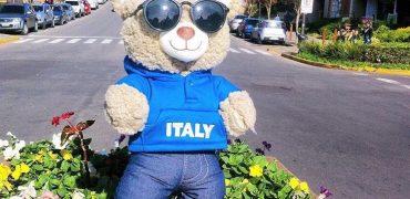 urso de pelúcia vestido com roupa de time de futebol e óculos escuros posando para foto na rua de Gramado